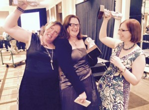 Angela Slatter, Kelly Link and I celebrate our victories!